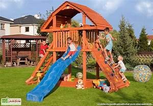 Jeux En Bois Extérieur : jeux d 39 ext rieur aire de jeux portique trampoline mon ~ Premium-room.com Idées de Décoration