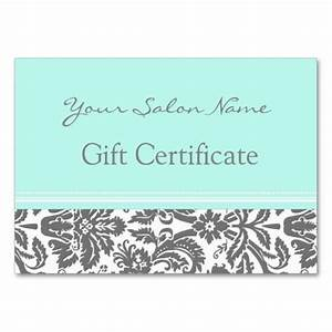 Salon Gift Certificate Aqua Grey Damask   Gifts, Business ...