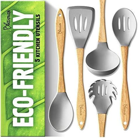 cooking kitchen utensils silicone wooden sosyalmanya nonstick cookware spoons odor friendly eco