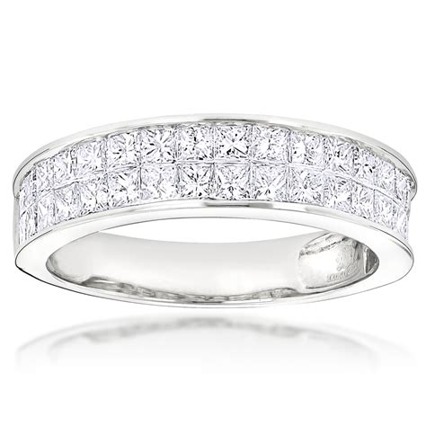 princess cut invisible set diamond wedding rings 14k gold