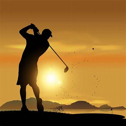 Golfer Silhouette Sunset Golf Vector Swing Club