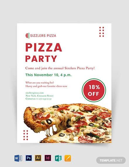 elegant pizza party flyer template   flyers