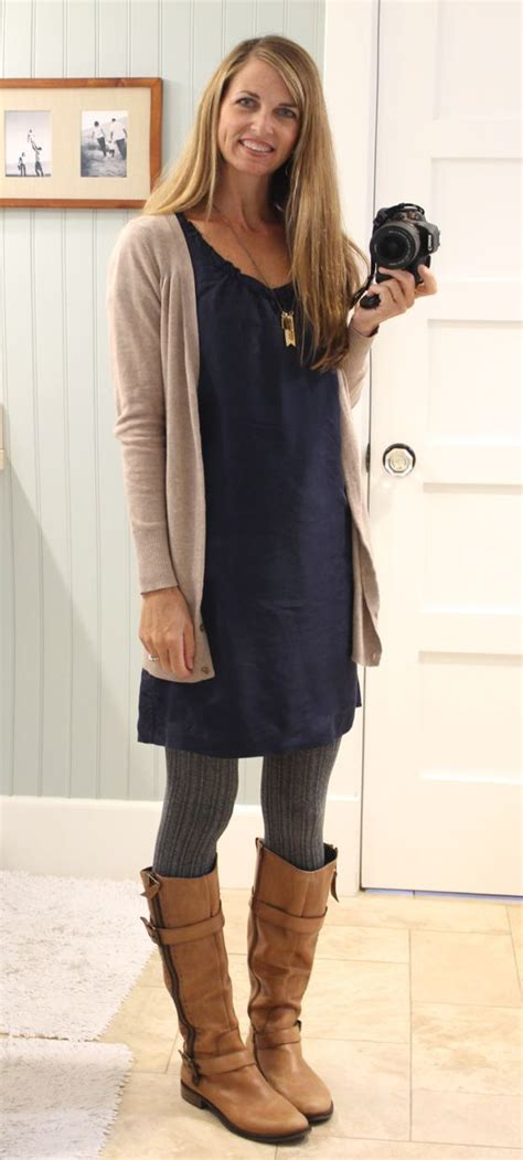 Dress with sweater tights cardigan and boots - great casual fall fashion | Beauty and fashion ...