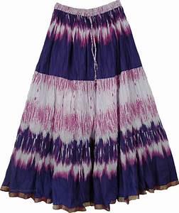 Cotton Printed Long Skirt Blue Pink - Clothing - Sale on bags skirts jewelry at polkadotinc.com