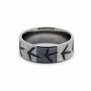 Turkey feet ring turkey hunting titanium mens wedding for Wedding rings and bands