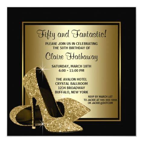 black gold high heels womans birthday invitation zazzle