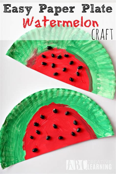 easy paper plate watermelon kids craft perfect  summer