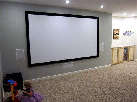 basement home theater ideas  fixed frame screen