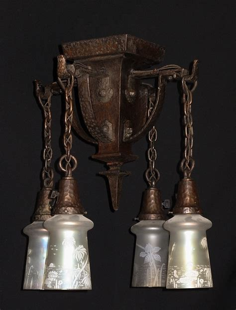 hammered arts crafts lighting fixture antique lighting