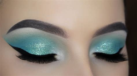 turquoise glitter eye makeup tutorial youtube
