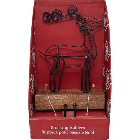 dressed home wire wood reindeer stocking holder reindeer stocking holder wood reindeer
