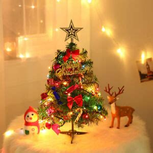 small led christmas tree 50cm tabletop artificial small mini tree with led light ornaments ebay
