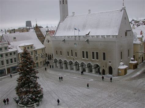 Tallinn, Estonia, City square view on winter