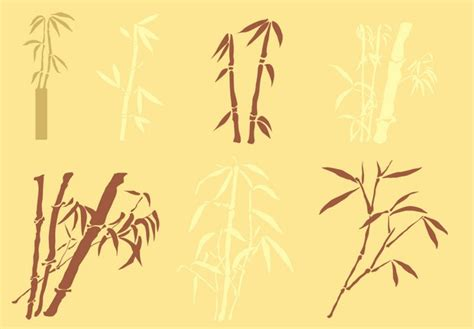 Bamboo silhouettes vector material Download Vector