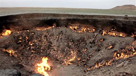 flaming gas crater day turkmenistan darvaza youtube