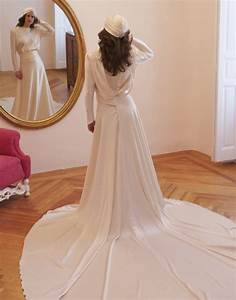 1940s inspired bridal style sleeved wedding dress onewedcom With 1940s inspired wedding dresses