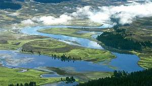 landscapes valley yellowstone rivers national park flood ...