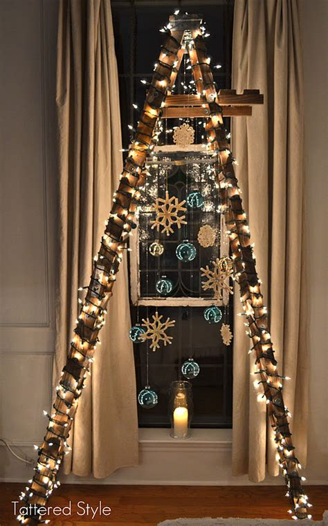 tattered style ladder christmas tree