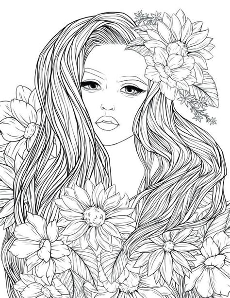 adult coloring page lady flowers digital coloring page