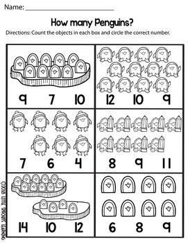 penguin count and clip cards numbers 1 20 plus worksheets tpt