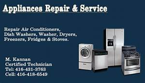 Tamilbizcard giving the details of appliances sales and for Appliance repair business cards