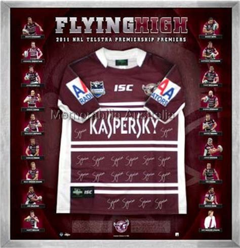 2011 manly premiership jersey signed 2011 nrl premiership nrl rugby league sports