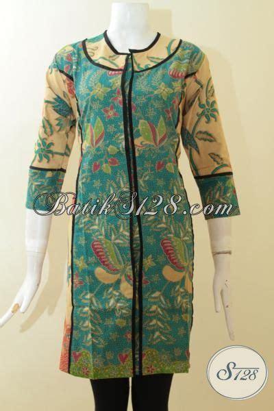 sedia pakaian dress batik wanita kombinasi warna hijau