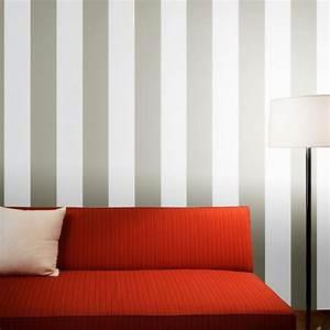 Metallic Silver and White Bold Striped Wallpaper Modern ...