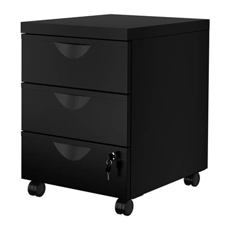 Ikea Erik 2 Drawer File Cabinet by Erik Drawer Unit W 3 Drawers On Casters Black Ikea