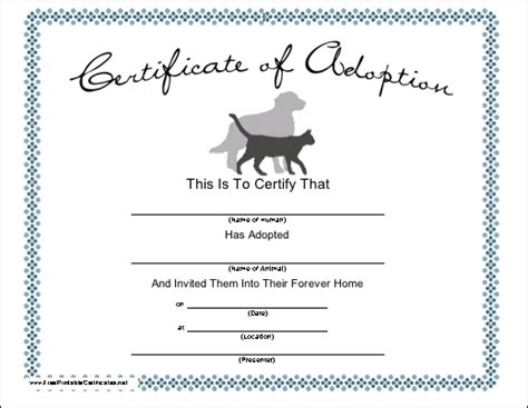 pet adoption printable certificate
