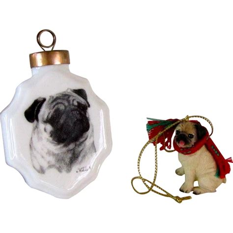 two pug christmas ornaments from antiquedog on ruby lane