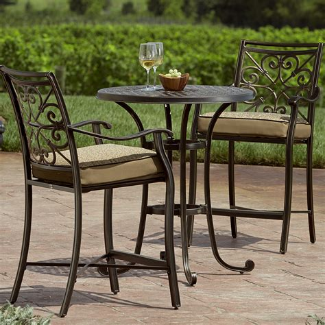 tall outdoor bistro table set balcony height bistro set make the most of outdoor living