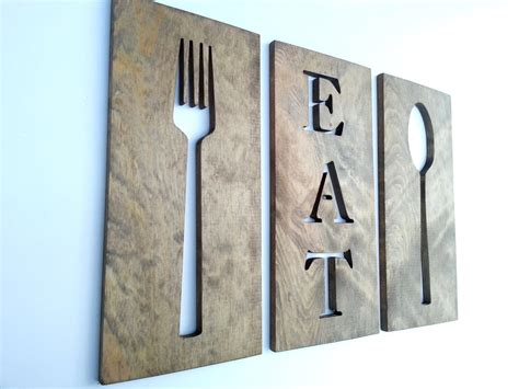 Wooden Fork Spoon Knife Wall Decor by 24 Kitchen Fork Spoon And Eat Wooden By Timberartsigns