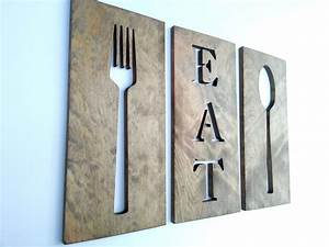 243939 kitchen art fork spoon and eat wooden by timberartsigns With best brand of paint for kitchen cabinets with personalized name wall art letters