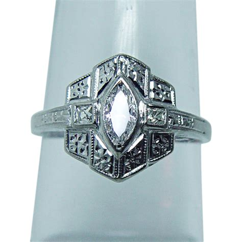 vintage deco marquise ring platinum estate jewelry from luvmydiamonds on ruby