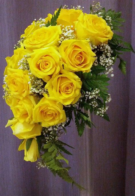 Cascade Bridal Bouquet With Yellow Roses And Babys Breath