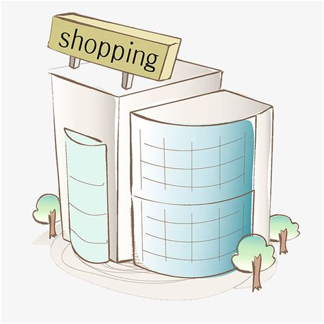 Mall Clipart Painted Shopping Mall Trees Building House Png