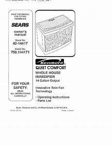 Kenmore 758 144171 Humidifier Owner U0026 39 S Manual Pdf View  Download