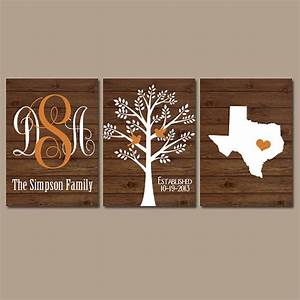 Family tree wall art personalized monogram canvas or prints