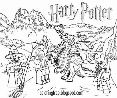 Potter Harry Coloring Pages Drawing Lego Dragon