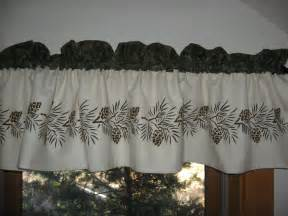 White Kitchen Curtains Valances by Maine Made Hand Stenciled Pinecone Northwoods Cabin Decor