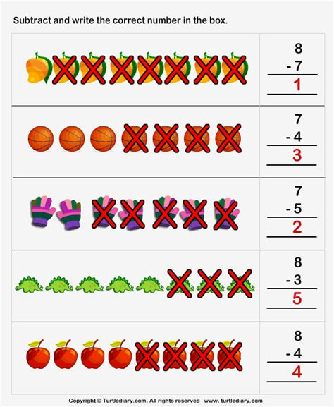 It is the year that we work on a multitude of addition and subtraction strategies that students can use to solve problems. Subtract One Digit Numbers using Pictures Worksheet - Turtle Diary