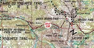 map index hike lake tahoe  mount whitney high sierra