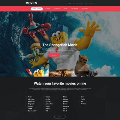 Theatre Responsive Website Template by Movie Templates Movie Site Templates