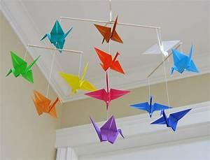 Mobile Basteln Origami : origami crane mobile rainbow modern baby room decor ~ Orissabook.com Haus und Dekorationen