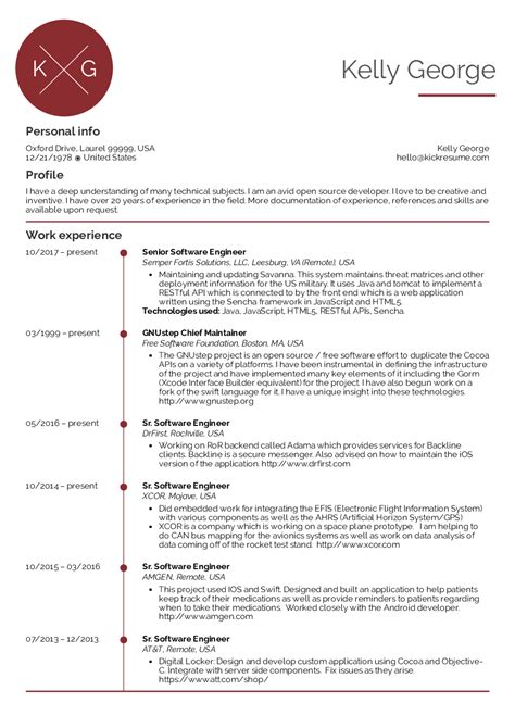resume examples  real people senior software engineer