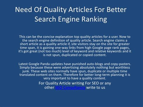 Better Search Engine Ranking by Need Of Quality Articles For Better Search Engine Ranking