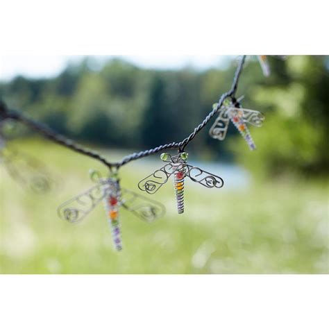 dragonfly outdoor string lights 10 light clear beaded dragonfly string light set kf01475