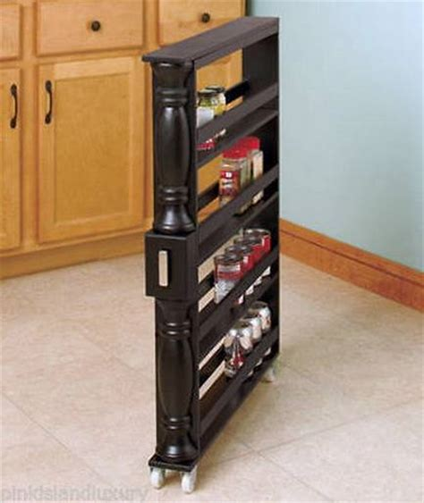 rolling spice rack new wooden rolling slim kitchen can spice storage