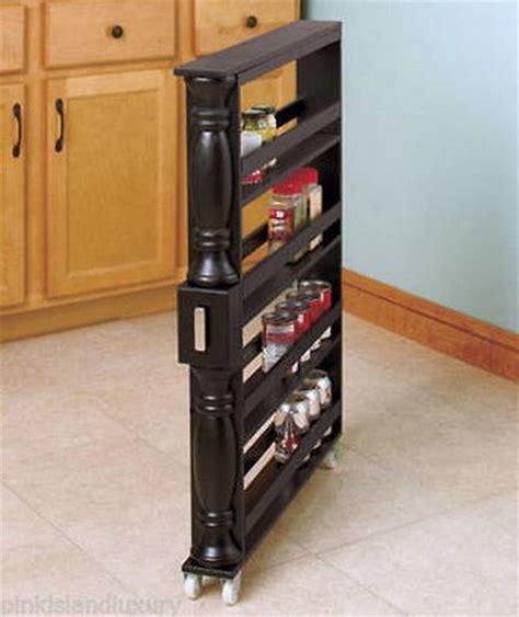 New Wooden Rolling Slim Kitchen Can & Spice Storage